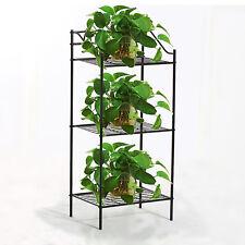 3 TIER Metal Shelves Flower Pot Plant Stand Display Indoor Outdoor Garden Black