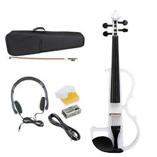Electric Violin Full Size Wood Silent Full Set Headphone Case White Cecilio 4/4