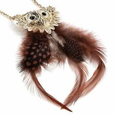 Owl Pendant on Chain Necklace Gold tone Head Brown Feather body Jet Black Eyes