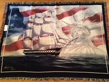 USS Constitution John Richard Perry Navy ship Woven Afghan Throw Blanket RARE