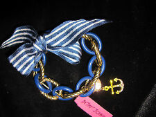 Betsey Johnson ship shape plastic blue and gold chain with ribbon bracelet