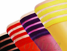 S M L LADIES HOLD UPS VARIOUS COLOURS LACE STOCKINGS WOMENS
