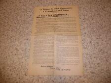 1944.Tract résistance communiste libération de l'Yonne.guerre 39-45.