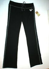 New Womens Designer True Religion Sweat Pants Big T Lounge Black White Medium M
