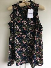 Glamorous Navy Floral Chiffon Cold-Shoulder Top Blouse Size L (10-12) BNWT