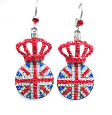 Butler and Wilson Crystal Union Jack Crown Disc Earrings Olympics Brexit NEW