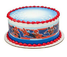 Spiderman edible image cake strips frosting sides icing decoration #8387