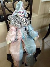 """Harlequin doll with porcelain face - 48"""" tall with small 8"""" doll included"""