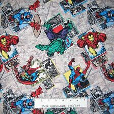 Marvel Fabric - Retro Badge Spiderman Iron Man Hulk Comic Book - Springs YARD