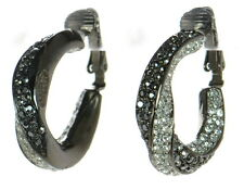 Kenneth Jay Lane Gunmetal Black & White Crystal Clip-on Twisted Hoop Earrings