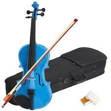 New Acoustic Violin 1/4 Size Dark Blue+ Case+ Bow + Rosin for Kids 6-8 Years Old