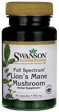 LION'S MANE MUSHROOM 500MG, x60 Capsules, SWANSON PREMIUM, (Hericium Erinaceus)