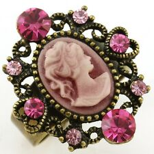 Antique Gold Vintage Style CAMEO Ring Heart Fuchsia Pink Stone Crystal Size Free