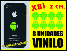 8 UNIDADES - PEGATINAS - STICKERS - ANDROID - VERDE LIMA - 2 CM - VINILO IPHONE