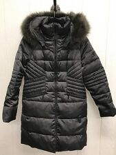 1 Madison Women's Luxe Down Walker Coat With Faux Fur Sz. Large Gunmetal Grey