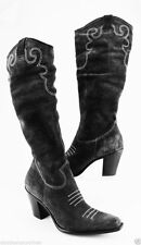 Via Spiga black suede designer Italian shoes cowboy western slouch boots 9