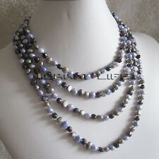 "74"" 5-6mm Multi Color Baroque Freshwater Pearl Necklace B UK"