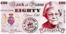 Personalised 80th Birthday LARGE BANKNOTE - Present - Keepsake - Gift - Banner