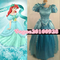 New Princess Ariel Little Mermaid Costume Blue Ball Gown Cosplay Custom Made