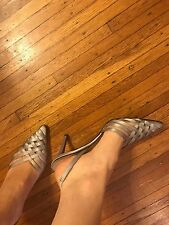 CHRISTIAN LOUBOUTIN SILVER AND MESH SATIN PUMPS SLIGBACK SIZE 37 $895 AUTHENTIC