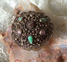 Antique Chinese Export gold wash Silver Filigree Jade Amethyst pin brooch