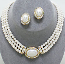 Faux cream pearl diamante necklace earring set gold tone bridal jewellery 0452
