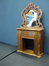 DOLLHOUSE BESPAQ FIREPLACE W/ MIRROR/ WALNUT