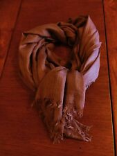 NEW! WOMEN's DUSTY ROSE/MAUVE OBLONG Fringed Silk Blend SCARF