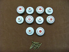CUPBOARD, CABINET, PLASTIC DOOR/DRAW KNOBS - WHITE WITH RED   (x10)