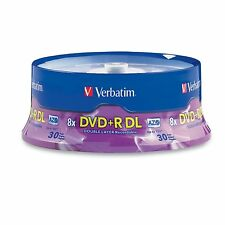 30 Verbatim DVD+R DL AZO 8.5GB 8x-10x Branded Double Layer Recordable Disc 96542