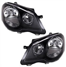 BLACK finish headlight SET for VW POLO 9N3 05-09 GTI with servo motor