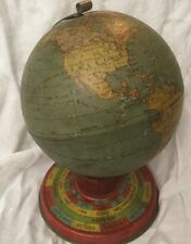 Vintage Ohio Art Company Miniature Globe  Horoscope Zodiac Tin Lithograph 1930s