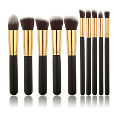 10tlg Pinselset Make up Pinsel Brush Holz Bürste Kosmetik Schminkpinsel Schwarz