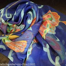 New WOMEN Blue Colorful Georgette 100% SILK LONG SCARF BUTTERFLY SHAWL WRAP