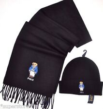 POLO RALPH LAUREN Men CASHMERE GIFT SET Big BEAR WOOL HAT + SCARF Made Italy