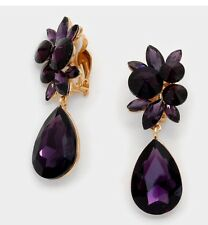 "2.75"" Purple Gold Long Rhinestone Crystal Pageant Dangle Earrings Clip On"