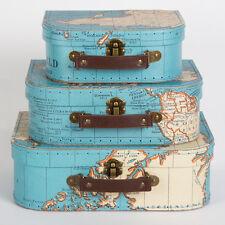 Sass & Belle Set di 3 Vintage Mappa VALIGIE DA VIAGGIO RICORDI scatole di casi
