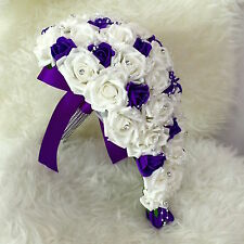 Bridal Wedding Bouquet Teardrop Cascade White&Purple Rose Pearl Flowers HANDMADE