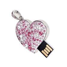 16GB USB 2.0 con strass di stile del cuore di memoria Flash Drive Flash Disk HK