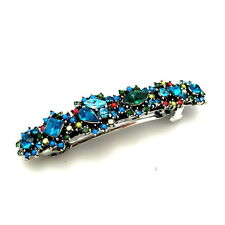 "Jeweled 3"" Turquoise Rhinestone Crystal Flowers Vintage Barrette Hair Clip Pin"