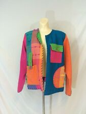 Vtg 1990s Crystal Jacket Hip Hop Fly Girl Style Woven Color Block Size Medium