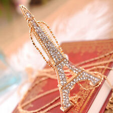Stylish Eiffel Tower Sweater Necklace Classic Crystal Rhinestone Long Necklace
