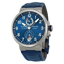 Ulysse Nardin Marine Chronometer Blue Alligator Leather Mens Watch 1183-126-63