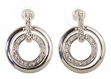 Swarovski Elements Crystal Circle Mini Pierced Earrings Rhodium Plated New 7135x