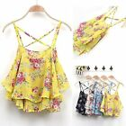 Sexy Women Summer Casual Floral Chiffon Sleeveless Vest T Shirt Tank Top Blouse
