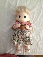 "Precious Moments Doll Pig Tails 1994 Philippines  12"" Girl with Flowers"