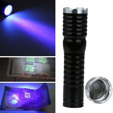 Zoomable LED UV Flashlight Torch Light 365nm Focus Ultra Violet Lamp AA Battery