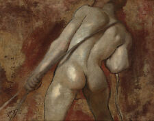 Etty William Male Nude Figure Hauling Rope Print 11 x 14  #3752