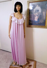 LUCIE ANN vintage Nylon LILAC & WHITE LACE Overlay Bodice nIghtgown L large