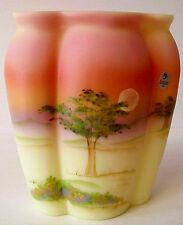 Fenton Glass Burmese Connoisseur Cypress Tree Vase Limited Edition New In Box